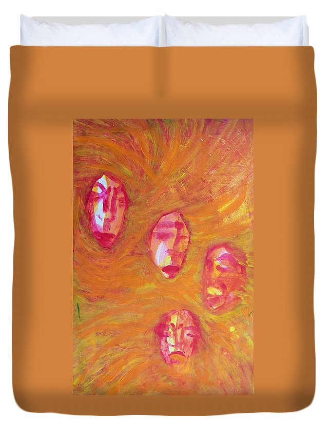 Abstract Duvet Cover featuring the painting Argument by Judith Redman