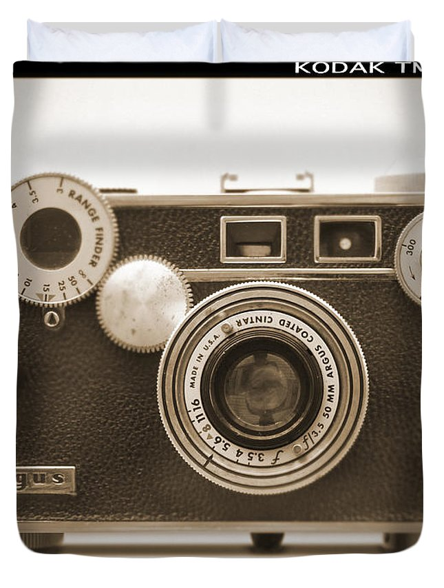 Vintage 35mm Duvet Cover featuring the photograph Argus - Brick by Mike McGlothlen