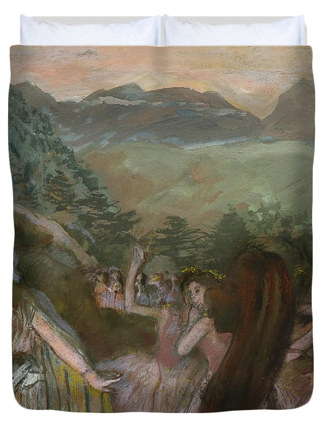 Aria After Ballet Duvet Cover featuring the painting Aria After Ballet by Edgar Degas