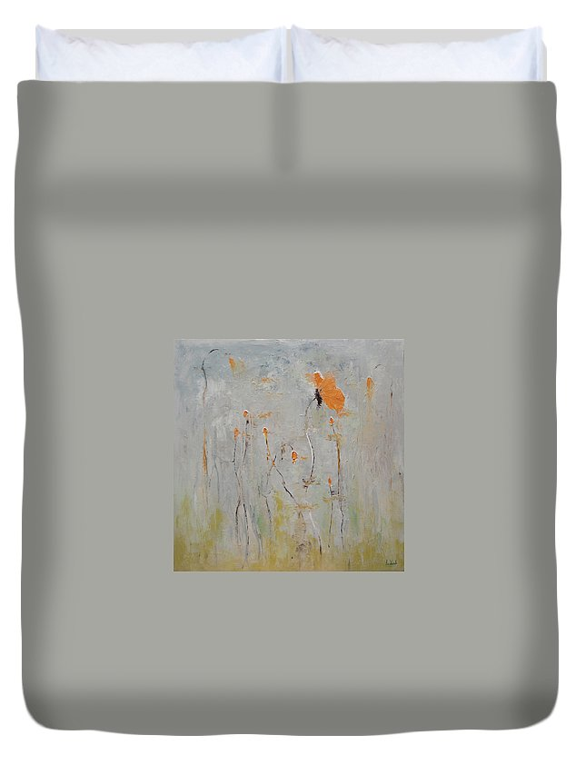 Floral Duvet Cover featuring the painting Aria by Barbara Andolsek