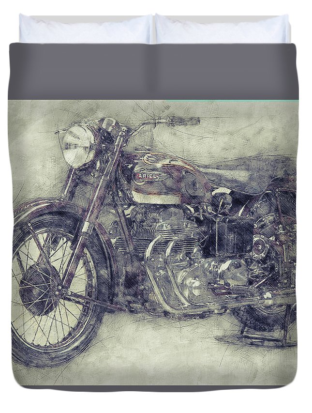 Ariel Square Four Duvet Cover featuring the mixed media Ariel Square Four 1 - 1931 - Vintage Motorcycle Poster - Automotive Art by Studio Grafiikka