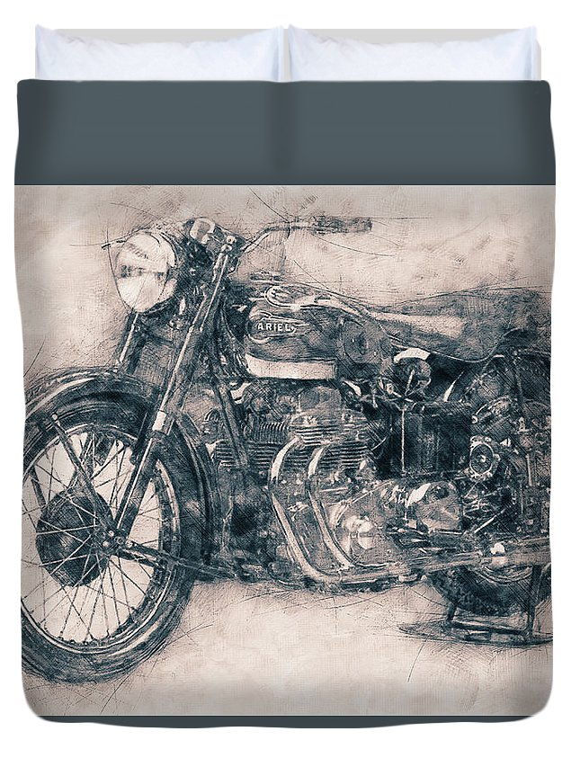 Ariel Square Four Duvet Cover featuring the mixed media Ariel Square Four - 1931 - Vintage Motorcycle Poster - Automotive Art by Studio Grafiikka