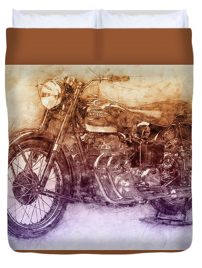 Ariel Square Four Duvet Cover featuring the mixed media Ariel Square Four 2 - 1931 - Vintage Motorcycle Poster - Automotive Art by Studio Grafiikka