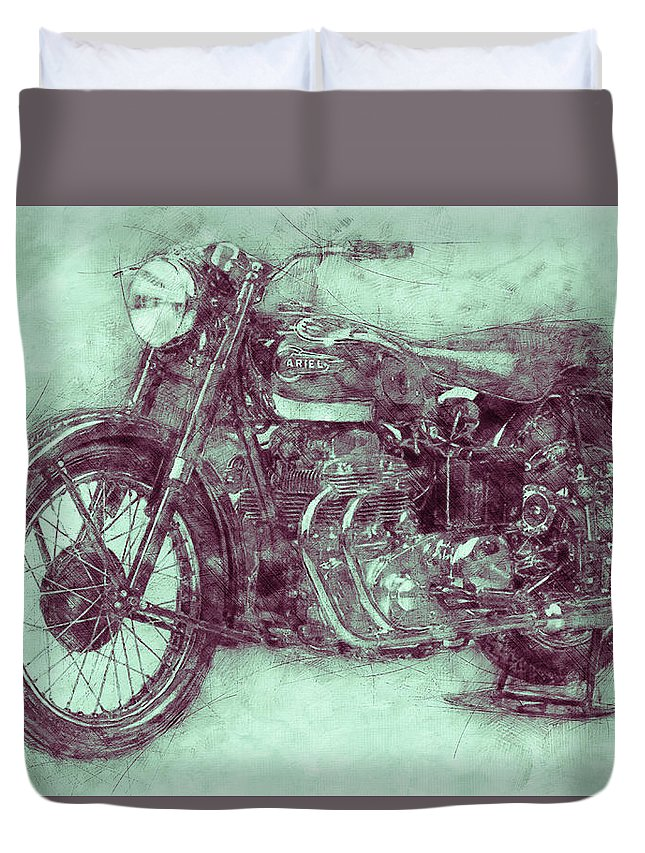 Ariel Square Four Duvet Cover featuring the mixed media Ariel Square Four 3 - 1931 - Vintage Motorcycle Poster - Automotive Art by Studio Grafiikka