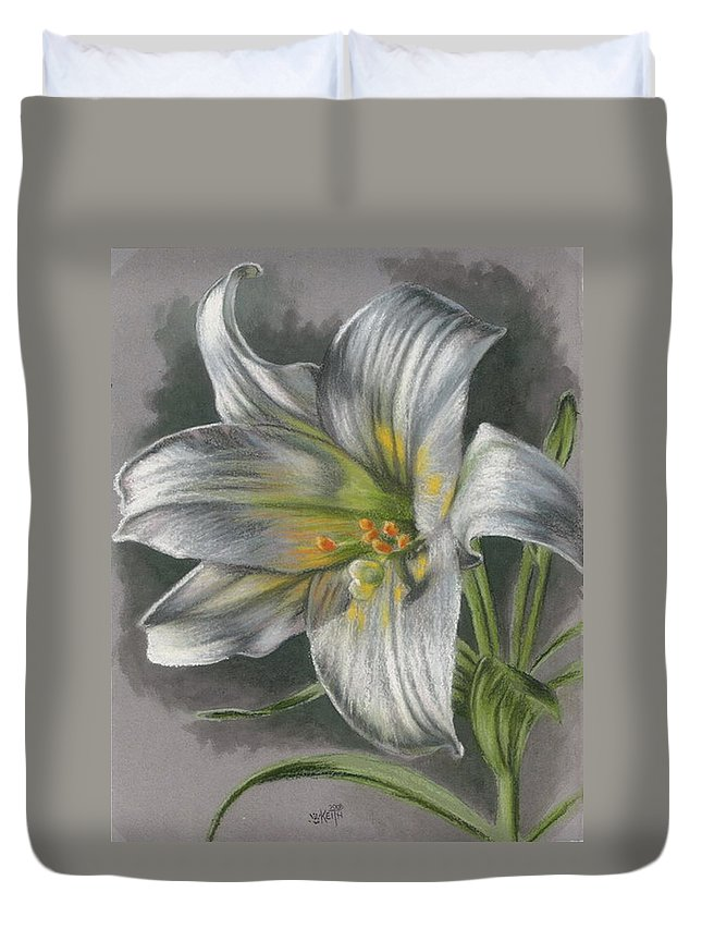 Easter Lily Duvet Cover featuring the mixed media Arise by Barbara Keith