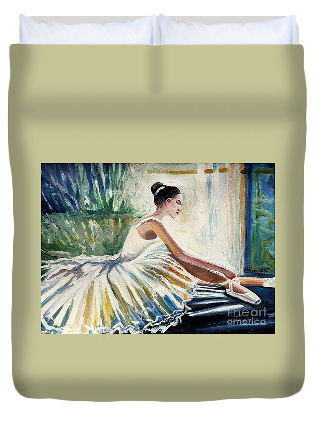 Ballerina Duvet Cover featuring the painting Arise by Elizabeth Robinette Tyndall