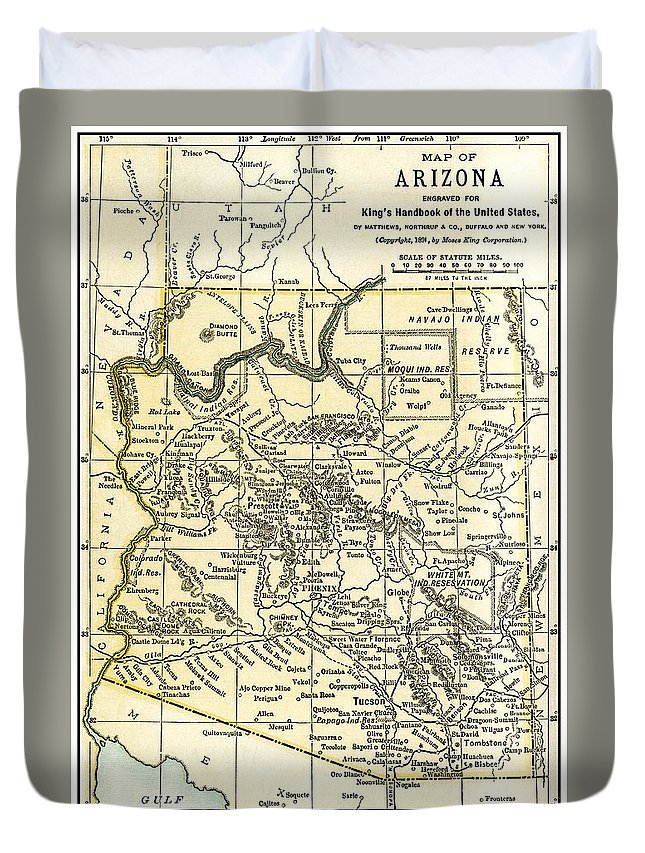 Arizona Duvet Cover featuring the photograph Arizona Territory Antique Map 1891 by Phil Cardamone
