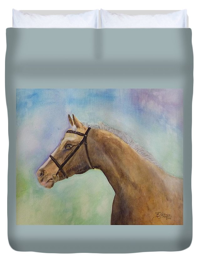 Horse Duvet Cover featuring the painting Arizona by Beverly Johnson