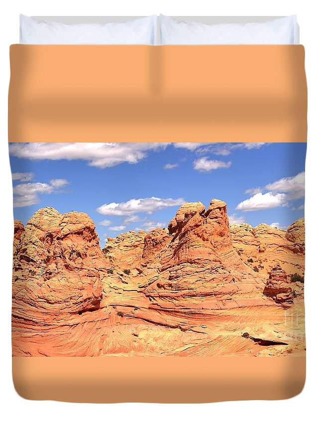 Vermilion Cliffs Panorama Duvet Cover featuring the photograph Arizona Candyland by Adam Jewell