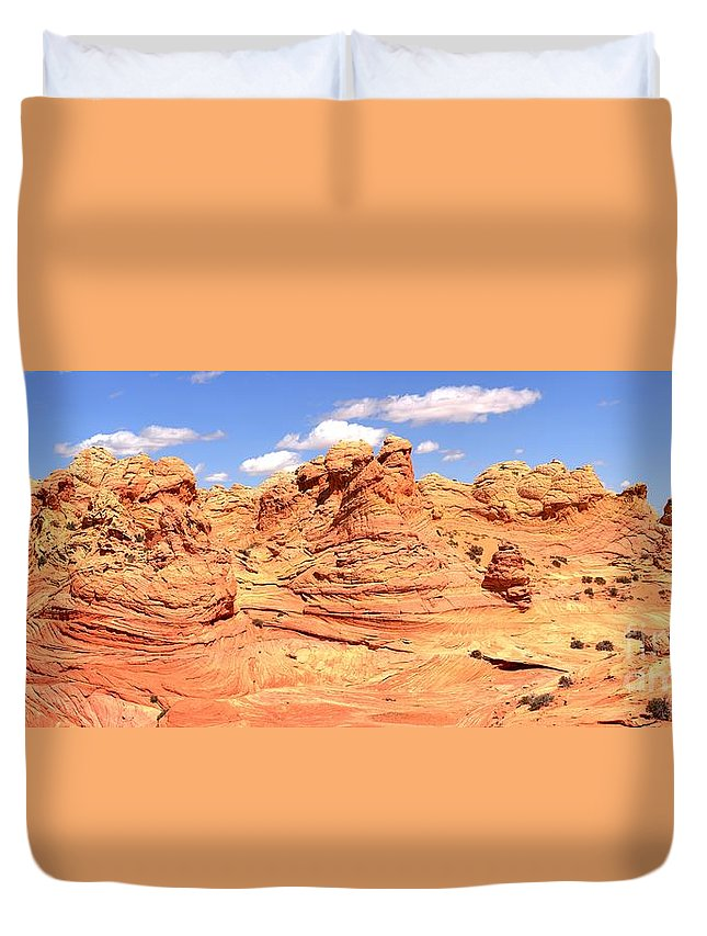 Vermilion Cliffs Panorama Duvet Cover featuring the photograph Arizona Desert Dreamscape by Adam Jewell