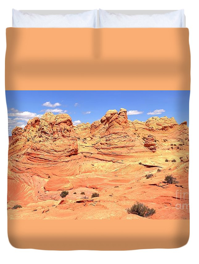 Vermilion Cliffs Panorama Duvet Cover featuring the photograph Arizona Desert Pastels by Adam Jewell