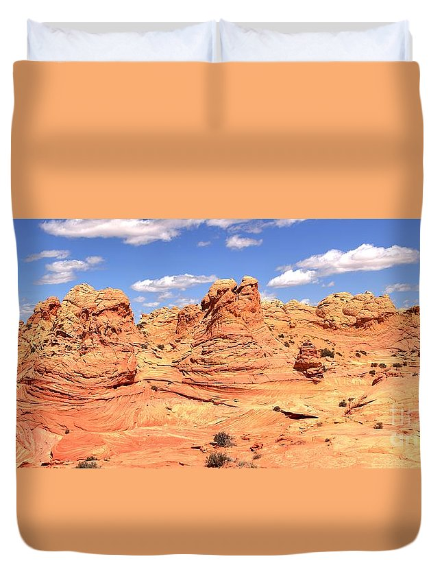 Vermilion Cliffs Panorama Duvet Cover featuring the photograph Arizona Dreamscape by Adam Jewell