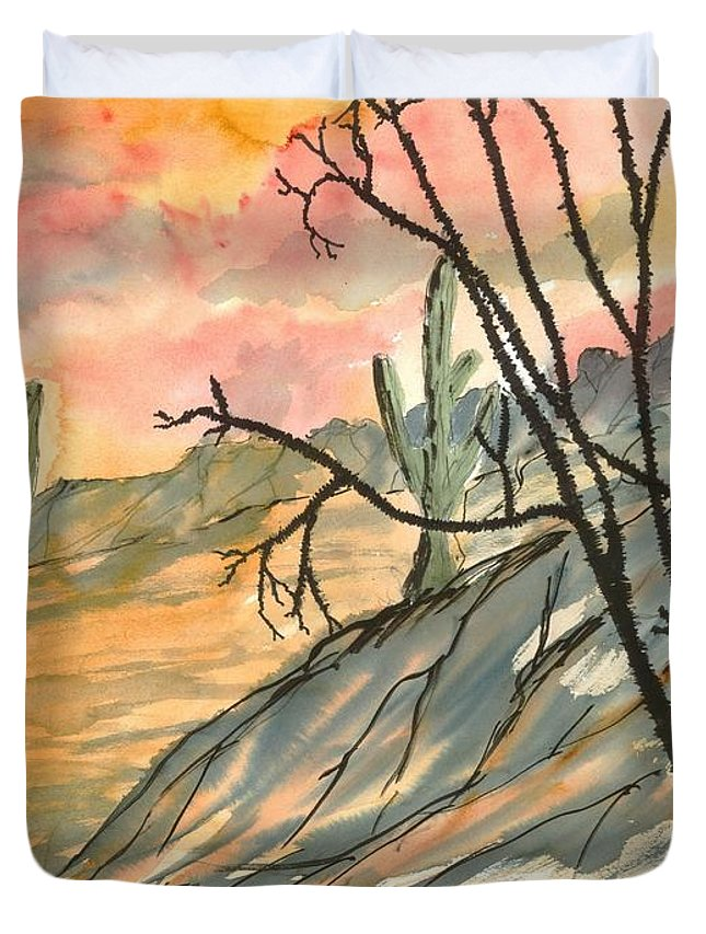 Drawing Duvet Cover featuring the painting Arizona Evening Southwestern Landscape Painting Poster Print by Derek Mccrea