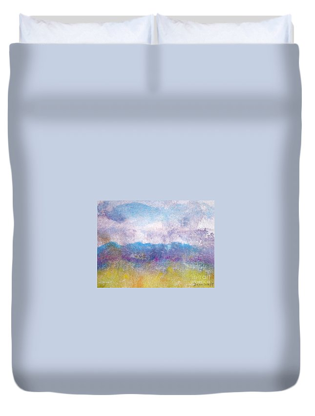 Abstract Duvet Cover featuring the painting Arizona Impressions by Jan Bennicoff