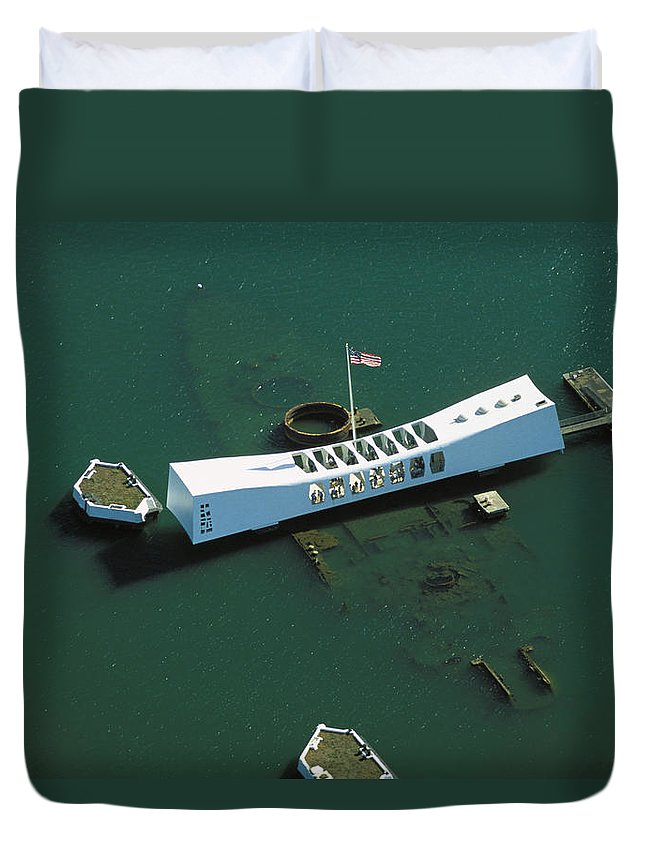 Above Duvet Cover featuring the photograph Arizona Memorial Aerial by Dana Edmunds - Printscapes