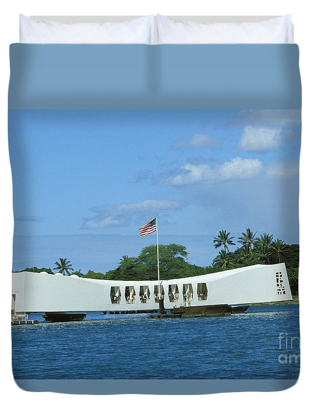 America Duvet Cover featuring the photograph Arizona Memorial by Bob Abraham - Printscapes