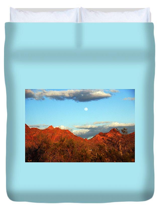 Arizona Moon Duvet Cover featuring the photograph Arizona Moon by Susanne Van Hulst
