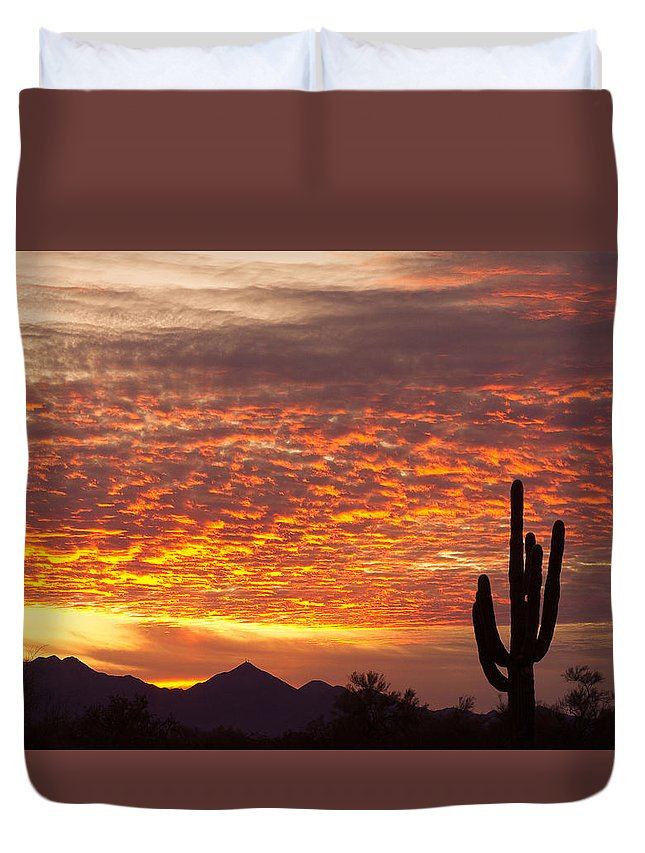 Arizona Duvet Cover featuring the photograph Arizona November Sunrise With Saguaro  by James BO Insogna
