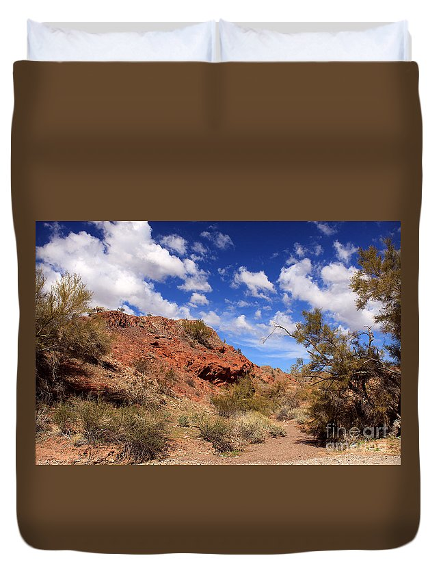 Landscape Duvet Cover featuring the photograph Arizona Red Rock by James Eddy