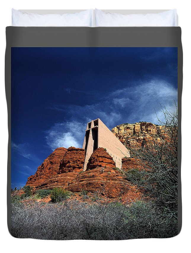 Vertical Duvet Cover featuring the photograph Arizona, Sedona Chapel Of The Holy Cross by American School