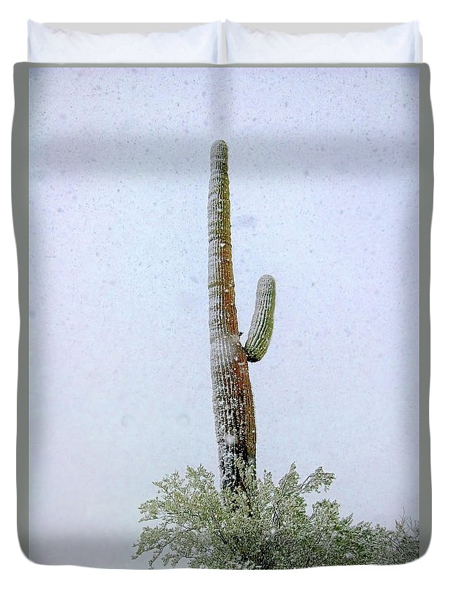 Snow Duvet Cover featuring the photograph Arizona Snow Storm by Barbara D Richards