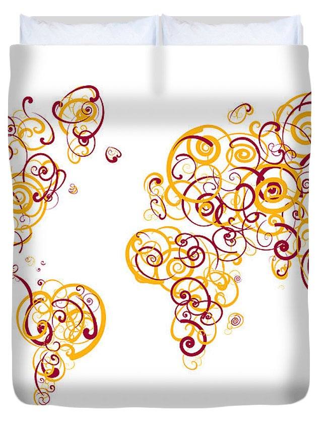 Globe Duvet Cover featuring the digital art Arizona State University Colors Swirl Map Of The World Atlas by Jurq Studio