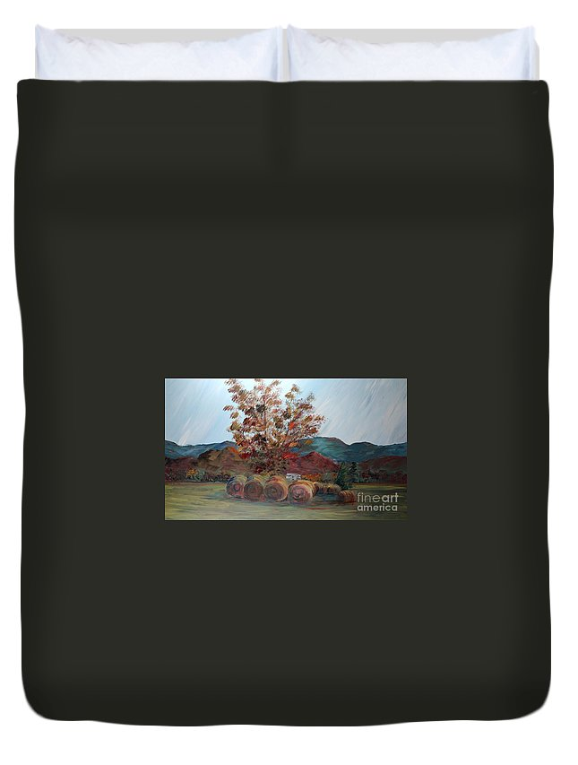 Autumn Duvet Cover featuring the painting Arkansas Autumn by Nadine Rippelmeyer