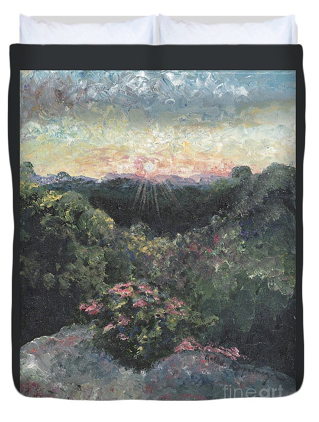 Landscape Duvet Cover featuring the painting Arkansas Mountain Sunset by Nadine Rippelmeyer