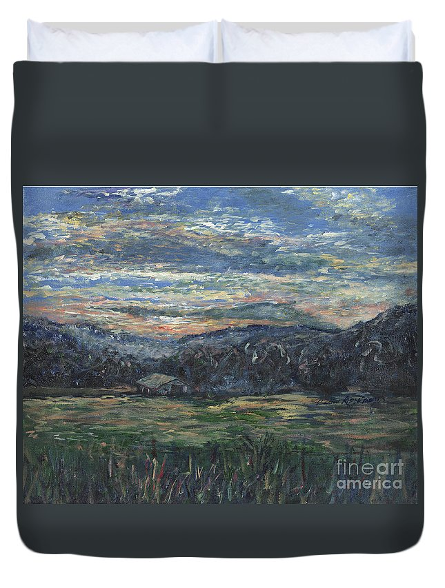 Impressionism Duvet Cover featuring the painting Arkansas Sunrise by Nadine Rippelmeyer
