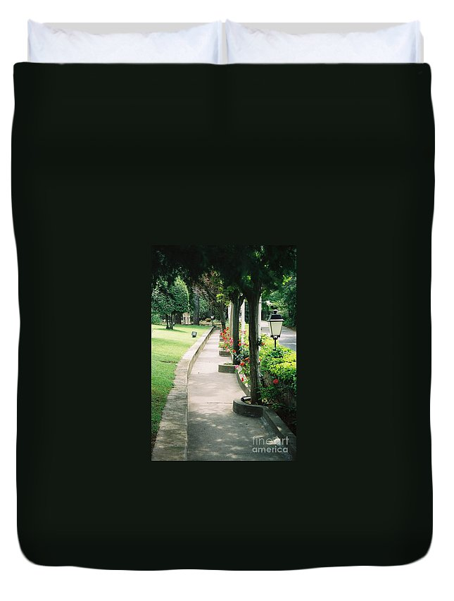 Arles Duvet Cover featuring the photograph Arles Walkway by Nadine Rippelmeyer