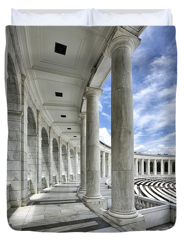 arlington National Cemetery Duvet Cover featuring the photograph Arlington National Cemetery - Memorial Amphitheater by Brendan Reals