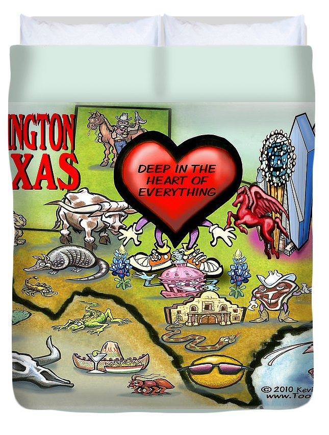 Arlington Duvet Cover featuring the digital art Arlington Texas Cartoon Map by Kevin Middleton