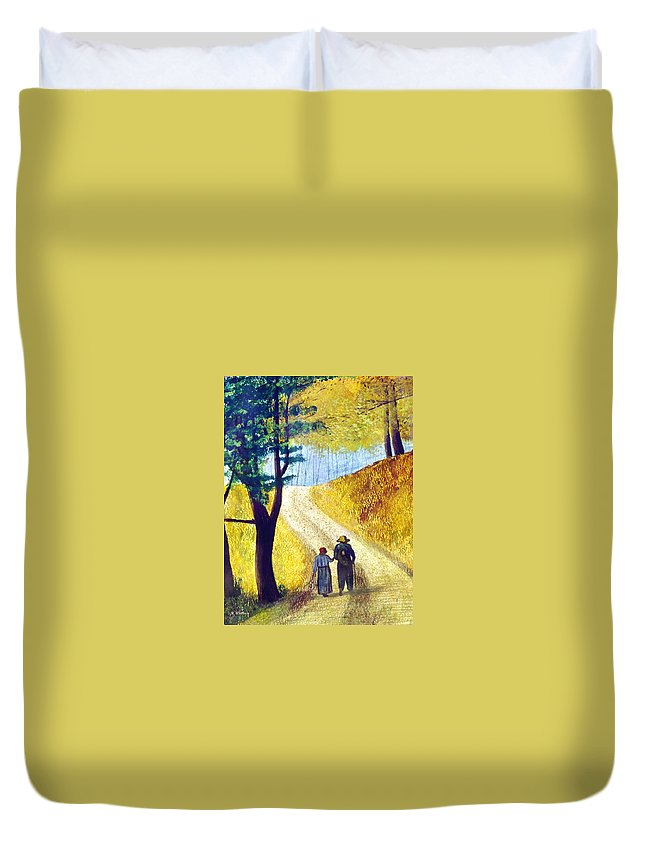 2d Duvet Cover featuring the painting Arm In Arm by Brian Wallace