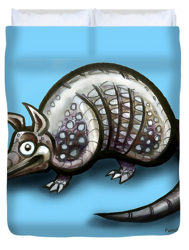 Armadillo Duvet Cover featuring the greeting card Armadillo by Kevin Middleton