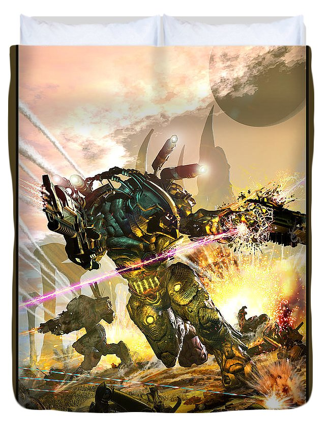 Armor Duvet Cover featuring the digital art Armored by Kurt Miller