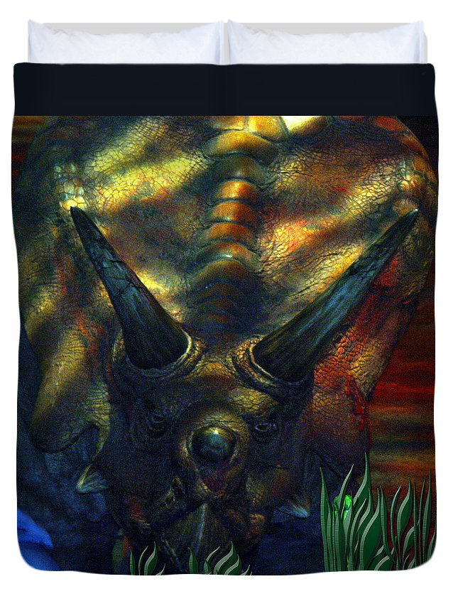 Dinosaur Armour Triceratops Extinct Dinosaurs Herbivorous Cretaceous Period Duvet Cover featuring the photograph Armour Plated by Andrea Lawrence