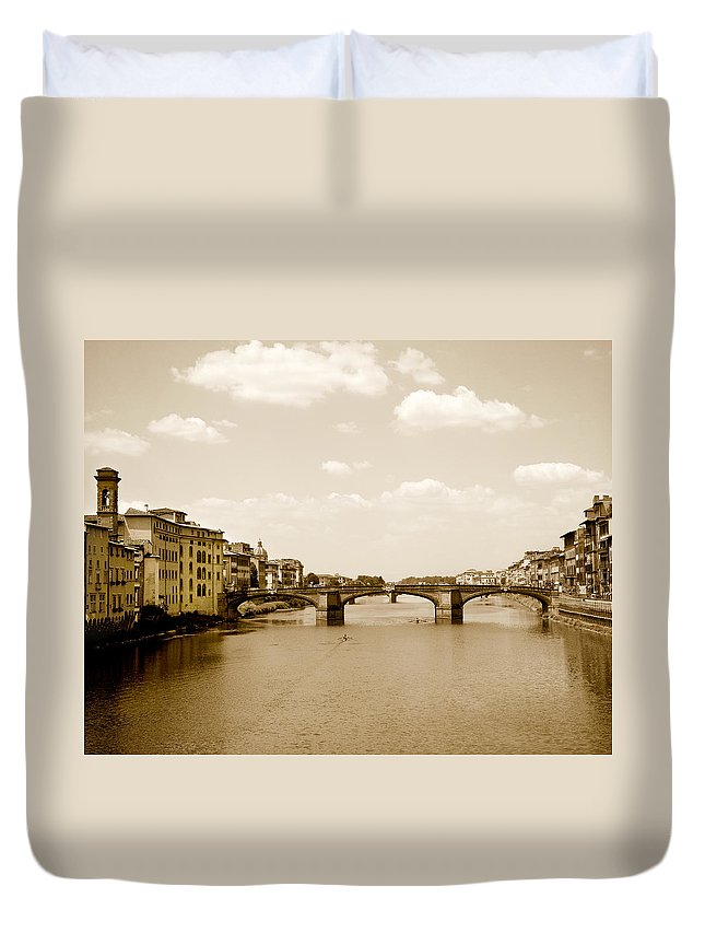 Italy Duvet Cover featuring the photograph Arno River Florence by Marilyn Hunt