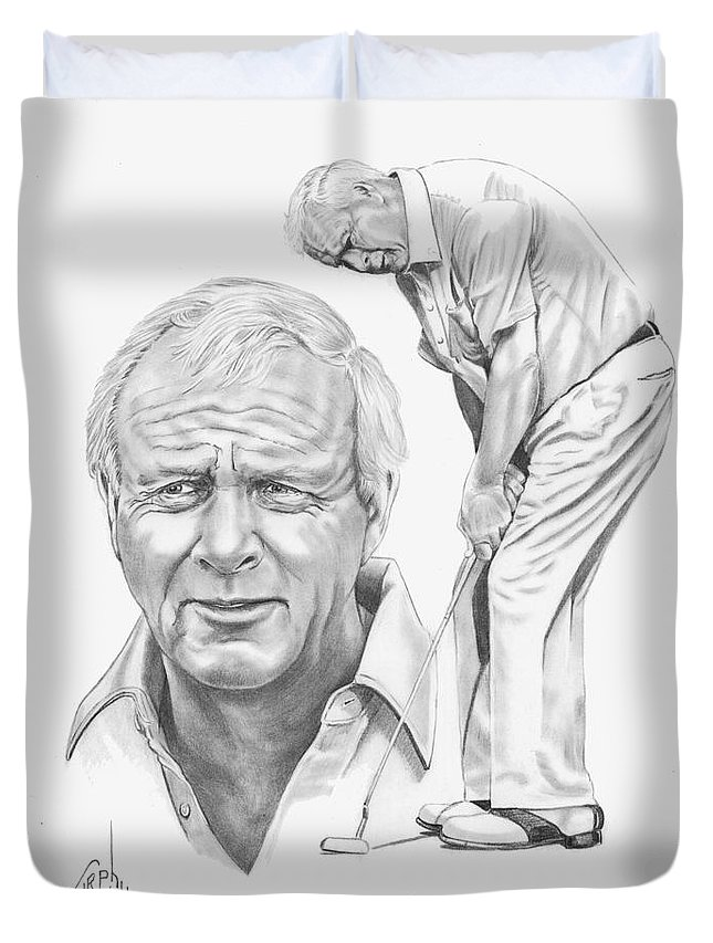 Arnold Palmer Duvet Cover featuring the drawing Arnold Palmer by Murphy Elliott