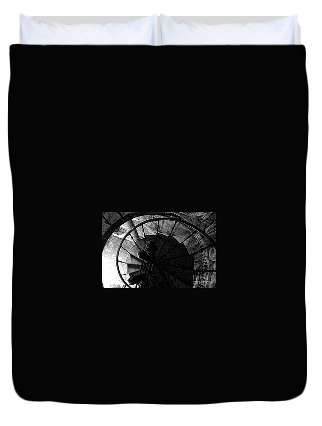 Wrought Iron Spiral Staircase Duvet Cover featuring the photograph Around And Above by Jasna Dragun