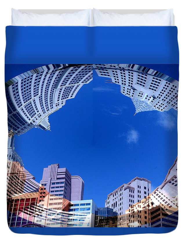 New York City Sky Line Las Vegas Sky Scrapers Clouds Buildings Duvet Cover featuring the photograph Around New York by Andrea Lawrence