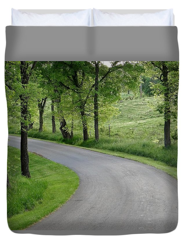 Around The Corner Duvet Cover featuring the photograph Around The Bend by Deb Rassel