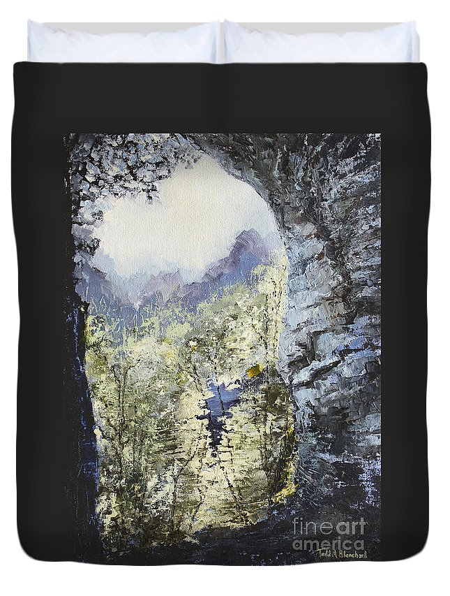 Landscape Duvet Cover featuring the painting Around The Bend by Todd Blanchard