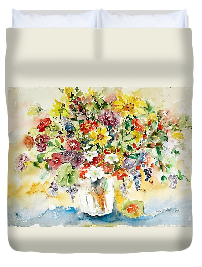 Watercolor Duvet Cover featuring the painting Arrangement IIi by Ingrid Dohm