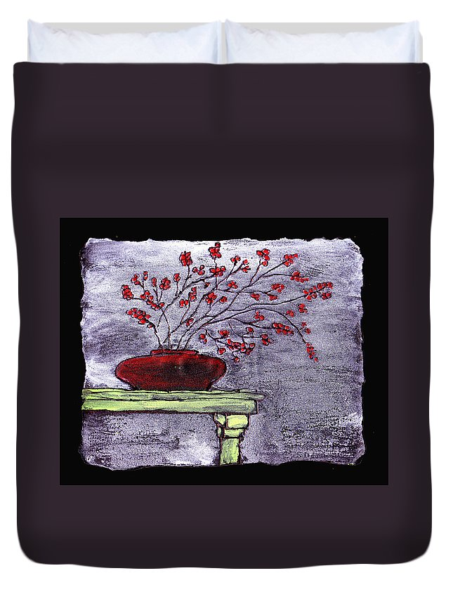 Flower Duvet Cover featuring the painting Arrangement In Red by Wayne Potrafka