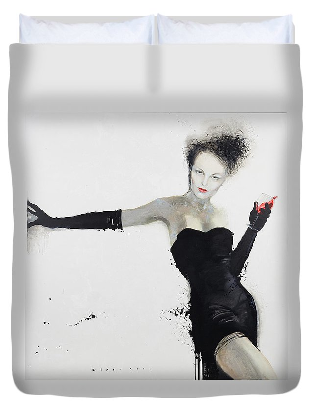 Canvas Duvet Cover featuring the painting Go In? by Viktor Sheleg