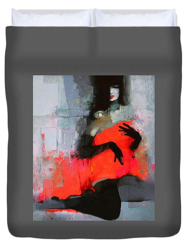 Woman Duvet Cover featuring the painting Art 5 by Viktor Sheleg