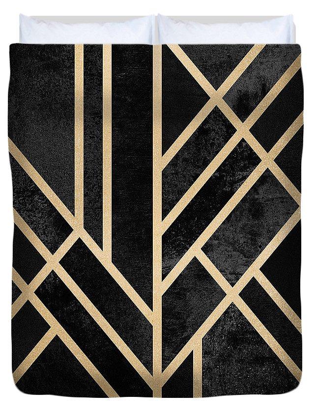 Digital Duvet Cover featuring the digital art Art Deco Black by Elisabeth Fredriksson
