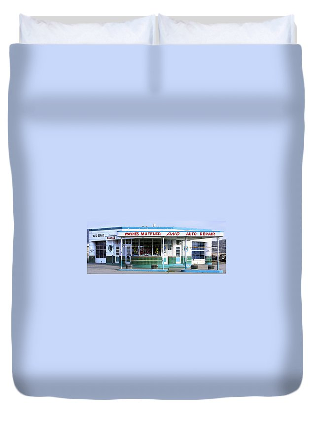 Americana Duvet Cover featuring the photograph Art Deco Filling Station 1 by Marilyn Hunt