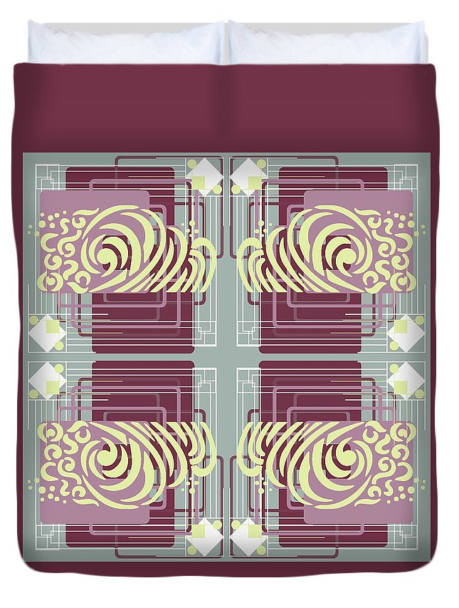 Digital Duvet Cover featuring the digital art Art Deco by Suzanne Carter