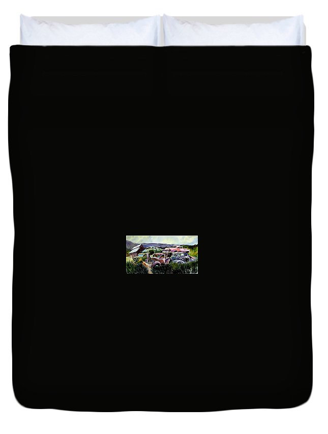 Cars Duvet Cover featuring the painting Art In The Orchard by Ron Morrison
